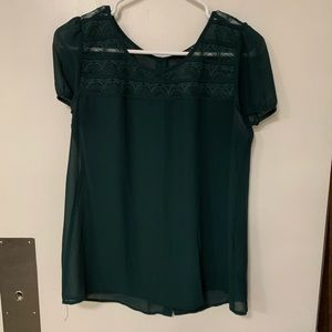 Green button back puff sleeve blouse